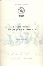 logo Leworęczna kobieta. Barbara Hanicka - wystawa scenografii