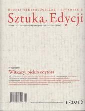 logo Sztuka Edycji nr 1 (9) 2016. Witkacy: piekło edytora